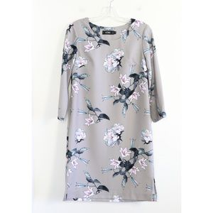 Icone gray floral print straight shift dress party